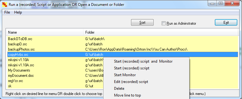 execute apps, open files, folders quickly from large list of files